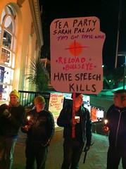 #giffords vigil Tea Party Sarah Palin reload bullseye hate speech kills (Steve Rhodes) Tags: cameraphone sf sanfrancisco california ca mobile moblog december 2010 iphone iphone4 iphonephoto december2010 iphoneography dec2010 iphone4camera iphone4photo