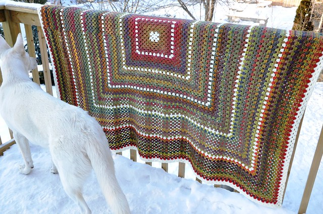 Dec. 28-Giant Granny Square done-63 x 69 inches in Jojoland Rhythm 100% wool, color # M24 and 002 (natural white)-14