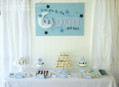Pen Paper Flowers Love You To The Moon Baby Shower