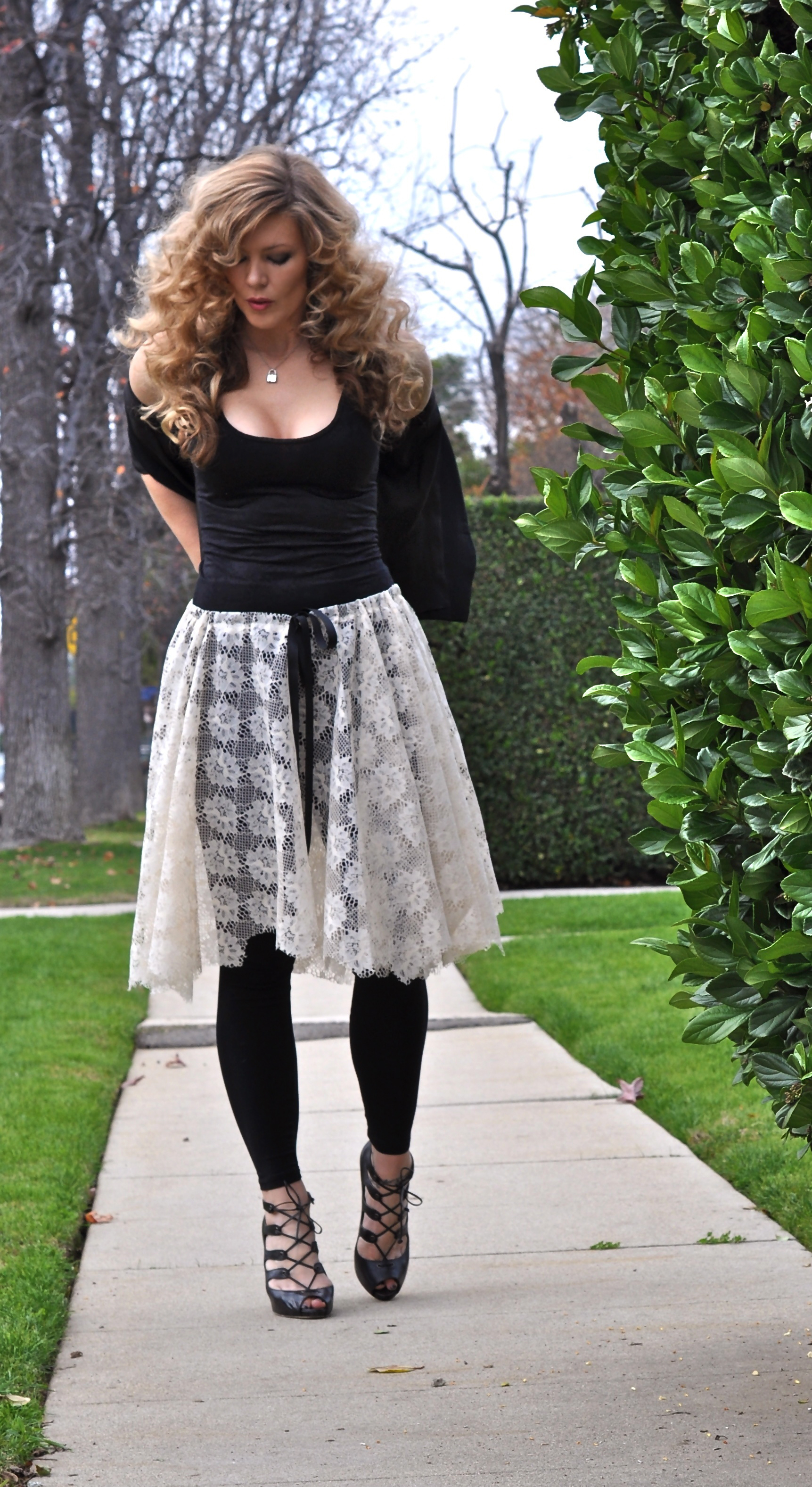 lace skirt with jacket