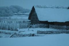 Wikinger Häuser Haithabu in der Schneelandschaft WHH 19-12-2010