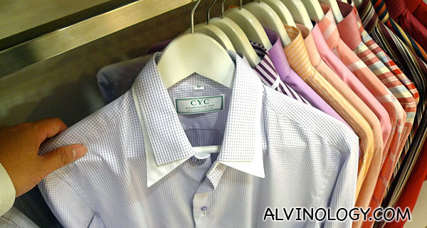 You can try out the sample shirts for fitting