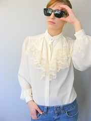 Victorian Style Creamy Flounced Lace Jabot Blouse Front (mondas66) Tags: ruffles lace silk ascot blouse poet romantic elegant ornate lacy silky dainty prim frilly elegance jabot ruffle demure blouses silken frills frill ruffled flouncy flounce lacework frilled flounces frilling frillings ictorian befrilled