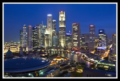 Singapore Business District at Dusk-1=
