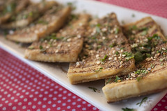 Pan Seared Lemony Tofu Slices with Fresh Herbs and Za'atar