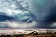 "spiral jetty storm (Scott Stringham ""Rustling Leaf Design"") Tags: cloud lake storm mountains water weather clouds canon landscape island utah sand view desert salt windy greatsaltlake miles gsl thegreatsaltlake greatbasin spiraljetty inlandsea boxeldercounty pacificflyway flightsoffancy itsbigenoughforall ourgreatsaltlake"