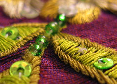 Embroidery (pixmad) Tags: colour macro home leaves book beads embroidery sequins southport