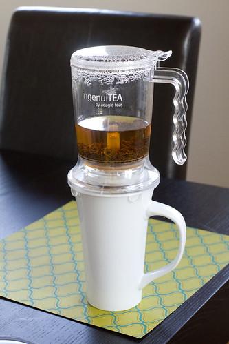 tea straining halfway