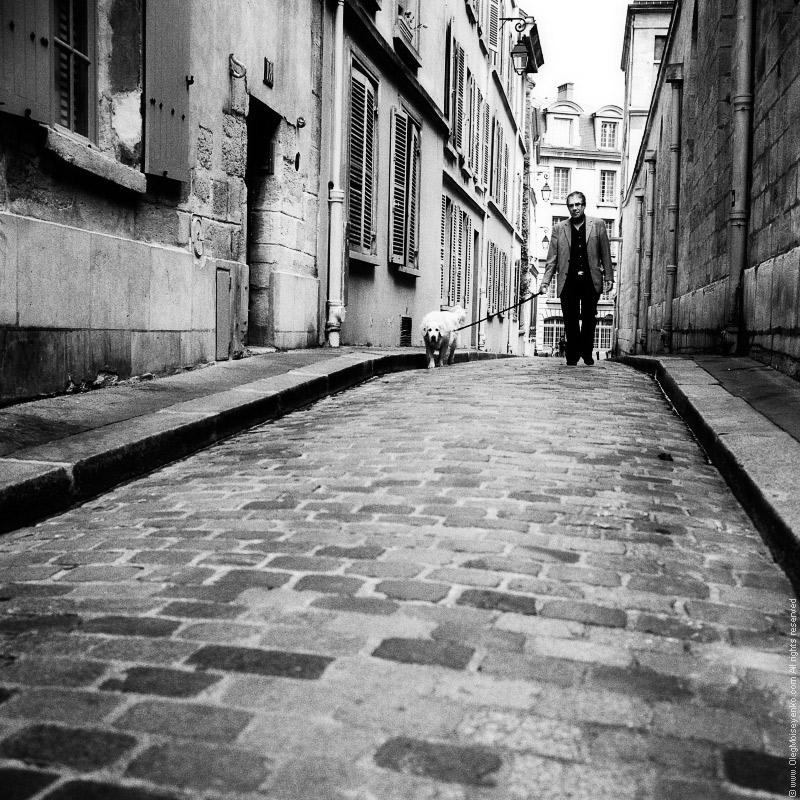 Walking with a dog, Latin Quarter, Paris