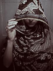 220) hideaway (jenny-alice) Tags: portrait woman selfportrait girl scarf self hand lips hide 365 220 day220 365days totw 365june2010