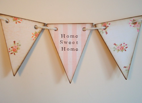 wooden home sweet home bunting