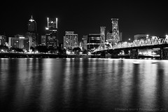 PDX B&W (Darren White Photography) Tags: city longexposure nightphotography blackandwhite white black night oregon canon reflections portland cityscapes bridges pacificnorthwest willametteriver stumptown rosecity cityofroses darrenwhite darrenwhitephotography fineartblackandwhite 5dmkii oregonstockphotography