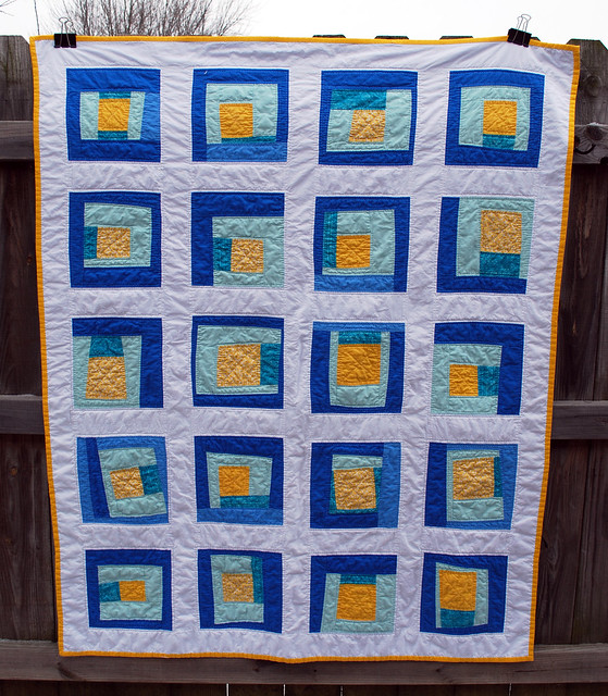 wonky blue and yellow square quilt