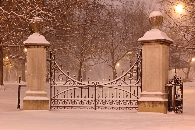 Lafayette Park, in Saint Louis MIssouri, USA - gates, at night, in the snow