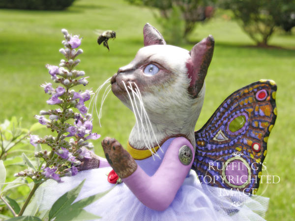 Luna the Pixie Kitten, Original, One-of-a-kind art doll by Max Bailey and Elizabeth Ruffing, version 1, Siamese Cat with Blue-purple Ageratums