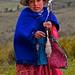 Cholita tejiendo