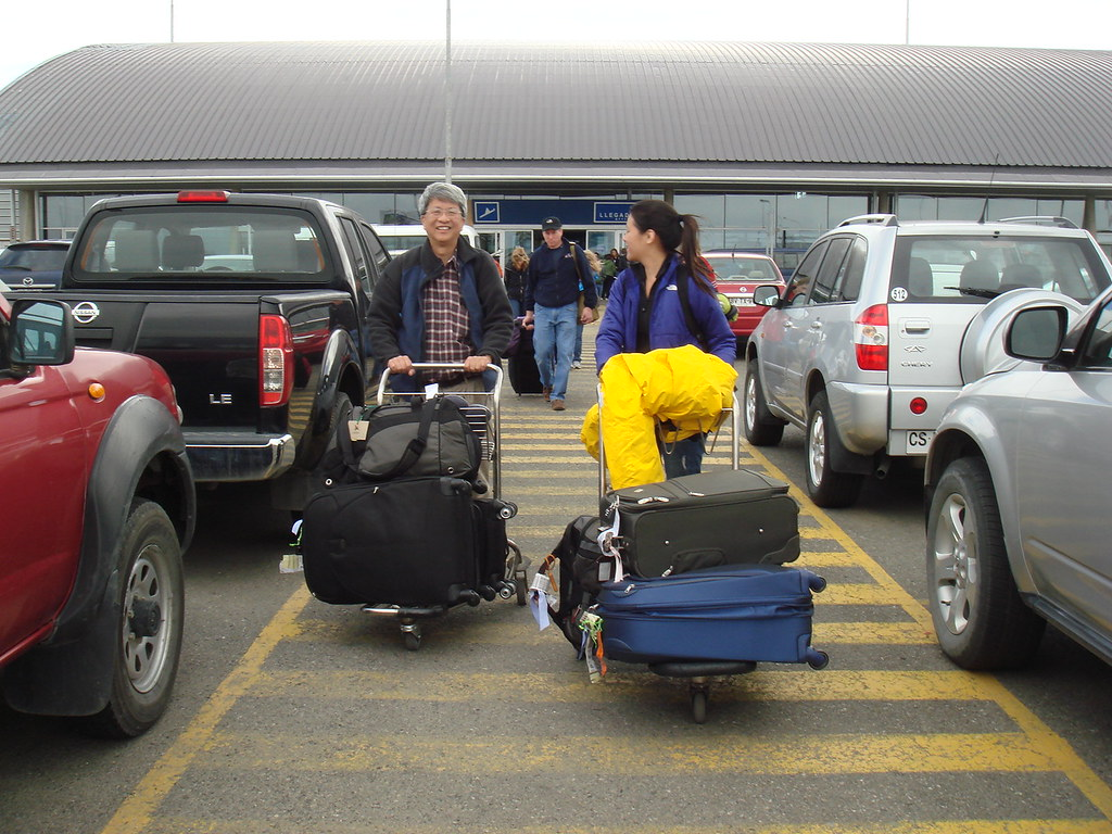 Carting our luggage at the Punta Arenas airport