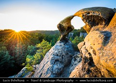Czech Republic - Bohemian Paradise - Český ráj- UNESCO Geopark - Sokoli pusinky - Ptačí polibek - Natural rock formation called Falcon Kisses or Bird's Kiss at Summer Sunset (© Lucie Debelkova / www.luciedebelkova.com) Tags: českýráj bohemia czechrepublic czech českárepublika česko ceska republika cesko czechoslovakia ceskoslovensko country europe centraleurope europeanunion eu rock rocky world exploration trip vacation holiday place destination location journey tour touring tourism tourist travel traveling visit visiting wwwluciedebelkovacom luciedebelkova luciedebelkovaphotography outdoor nature landscape sunset sun pinetree pine tree