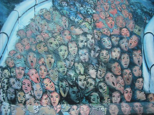 Berlin wall face mural