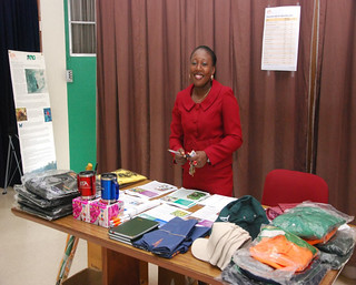 Staff selling IITA promotional items during Op...