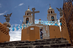 on top of the pyramid (Val in Sydney) Tags: church de mexico los san stair cross cholula puebla andres senora remedios nuestra eglisia