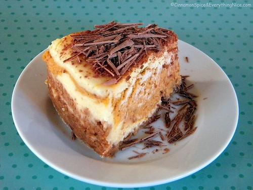 Layered Pumpkin Cheesecake with Belgium Chocolate
