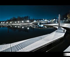 Entrance Bridge of the Marina (HD Photographie) Tags: snow france night port marina landscape high dynamic pentax ardennes sp ii di if neige hd af paysage tamron range nuit hdr ld plaisance herv k7 charlevillemzires f3545 1024mm asperical dapremont tamronspaf1024mmf3545diiildaspericalif hervdapremont