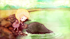 """My Seaside Friend"" (sara fly's okay) Tags: sea cute green art girl animal monster illustration fairytale painting pretty sara child little drawing shoreline surreal books childrens braids creature whimsical holbert"
