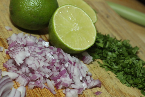 limes, cilantro and red onions
