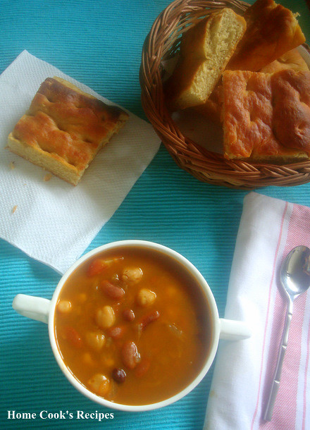 Foccacia with Mixed Bean Soup