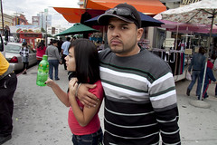 hugged. (susan catherine) Tags: street portrait losangeles downtown stripes spotted greenbottle cloudyskies hugged instruction10 shootlikeanassassin shehasamazingeyelashes