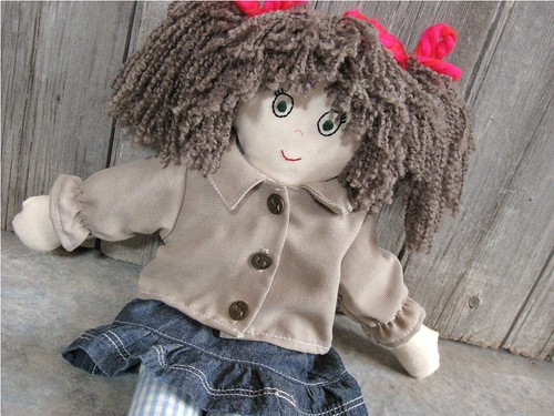 Handmade Rag doll - Girl with brown hair