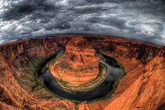 Horseshoe Bend 2 (Wayne Stadler Photography) Tags: arizona cliff green clouds river sandstone colorado view bend cloudy stormy horseshoe