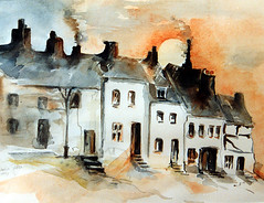 Art: watercolour:...and winter came..... (Nadia Minic) Tags: winter aquarelle hiver watercolour luxembourg wiltz lenningen nadiaminic nadiaart ruedescharretierswiltz