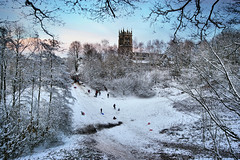 Sledging at St Mary's - Highly Commended - Landscape Photographer of the Year 2012 (Chris Beesley) Tags: family blue winter sky snow cold tree landscape fun frost day cheshire sigma 1020mm sled stmaryschurch highly sledge 2010 sledging lymm lymmdam commended takeaview pentaxk100dsuper lpoty shortlistedforlandscapephotographeroftheyear2012