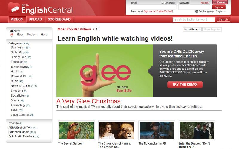 English Central | เว็บฝึกพูดอ่านภาษาอังกฤษ