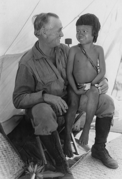 George Rawls (left) and a Bororo boy named Tari (right) during the Penn Museum's Matto Grosso Expedition in Brasil, 1931
