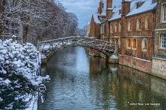The Mathematical Bridge (Ben Lee Images) Tags: street city uk blue winter cambridge red england holiday snow water sunshine skyline buildings landscape dramatic sunny historic hdr siteseeing