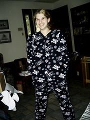 Anna in footie pajamas