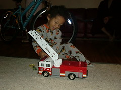 Santa Brought David a Fire Engine