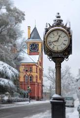Snow. Time. (Rob Hanson Photography) Tags: christmas snow snowflakes nc time snowstorm northcarolina clocks newbern historicdowntown nikcolorefexpro vignetteblur pollockstreet robhansonphotographycom robhansonphotography baxterjewelers newberntownhall