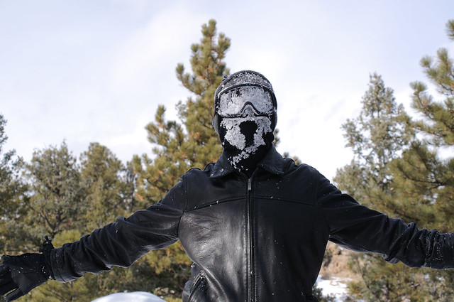Darrell with snow covering his masked face and snow goggles
