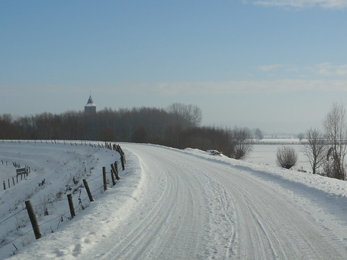 A dike in the snow in Holland
