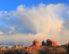 Cathedral Rock Updraft (sedonakin) Tags: winter arizona sky sunlight snow southwest nature clouds landscape desert cloudy sedona bluesky vista redrocks cathedralrock stormclouds mogollonrim oakcreekcanyon natureshots updraft blueribbonwinner isawthelight finegold freenature amazingweather julielake fineplatinum amazingshotsofnature