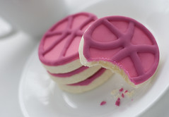 Dribbble Cookies (Explored) (hellogeri) Tags: pink food cup cookies basketball logo dessert plate sugar bite icing crumbs shortbread dribbble