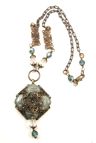 Juliet Necklace with Polymer Clay Cab, Vintaj Brass, Swarovski and Czech Glass Crystal