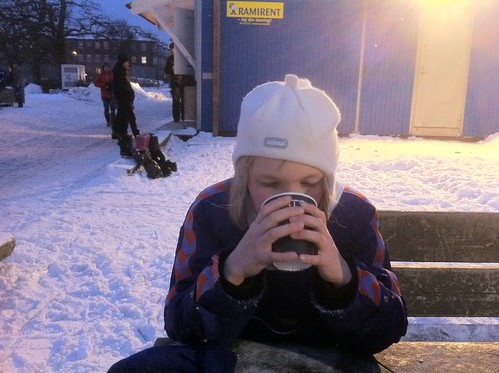 Having a drink at the skating rink