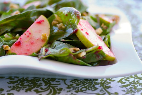 Spinach and Apple Salad with Cranberry-Maple Dressin