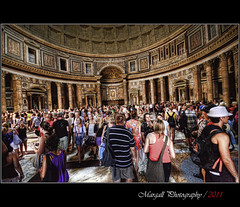 Inside the Pantheon - HDR - Roma - Rome (Margall photography) Tags: people italy rome roma church canon photography italia 10 pantheon sigma tourist antica chiesa marco 20 hdr turisti 30d galletto margall