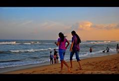 Celebrating Friendship.. :) (Rimi's Magik!) Tags: travel girls friends sunset sea india tourism beach marina landscape evening nikon friendship best shore chennai incredible girlfriends tamilnadu d90